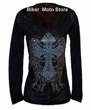 Shirt M Medium -- Women Lady Motorcycle Biker Gothic Long Sleeve Burn Out  Black