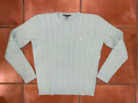 Women's Ralph Lauren Sport Cable Knit Sweater Teal Crewneck Long Sleeve Size L