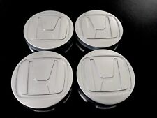 SET OF 4 HONDA CIVIC GRAY 58MM 2 1/4 INCH WHEEL CENTER CAPS SILVER LOGO EMBLEM