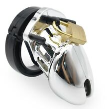 Plastic Siliver Male Chastity Restraint Penis Cage CBT Lockdown Cuckold Device S