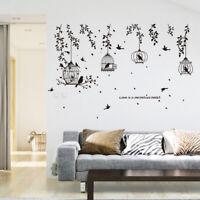 Flower Vine Bird Cage Wall Stickers Art Decal Window Home Decor Mural Vinyl UK