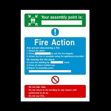 FIRE ACTION YOUR ASSEMBLY POINT PLASTIC RIGID SIGN 150 x 210mm