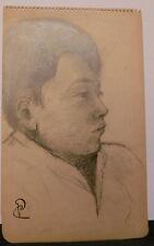 Dessin Original  PAUL COUVREUR - Portrait jeune homme - 1930 - PC229