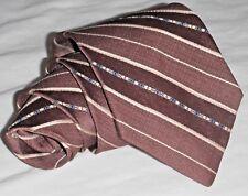 Vintage Tie Brown Caramel Tan A bit of Blue Stripes ROBERT ALAN Necktie 57 3 NEW