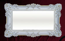 Baroque Antique Wall Mirror Ornamentation White Gold 96x57 New