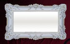 Barroco Antiguo espejo de Pared ORNAMENTACIONES ORO BLANCO 96x57 NUEVO