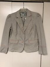Chico's Women's Cream and Taupe striped Blazer Jacket Chico Size 0 (Small,4) NWT