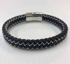 """Braided Leather Magnetic Bracelet, Gift Idea Dg Men's Stainless Steel 8.5"""" Black"""