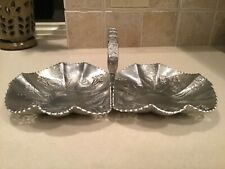 Vintage Aluminum Tray, Handled, Scalloped Rims, Roses, Hand Wrought