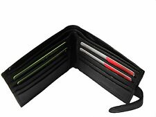 Black Leather Notecase Credit Card Wallet with Inside Zip & Note Section -196