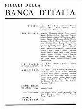 PUBBLICITA' 1938 BANCA D'ITALIA AOI FILIALI SEDI SUCCURSALI COLONIE EGEO AFRICA
