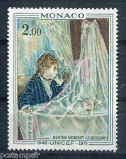 MONACO 1972, timbre 877, TABLEAU MORISOT, le BERCEAU, UNICEF, neuf**