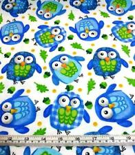 COTTON FLANNEL BLUE OWLS WHITE COTTON QUILT FABRIC