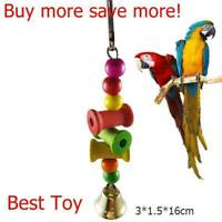 Parrot Pet Bird Chew Bite Toy Wooden Bell Cage Swing Toys Cockatiel Parakeet Fas
