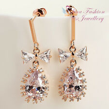 18K Rose Gold Plated CZ Lovely & Extra Sparkling Bowknot Teardrop Earrings