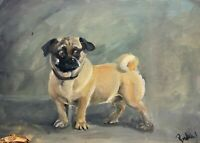 Print of original oil painting wall art pug dog lovers home decor vintage style