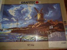 """PRINTED NEEDLEPOINT ZWEIGART CANVAS SCENIC WATERFRONT WINDMILL 23 1/2 X 15 1/2"""""""
