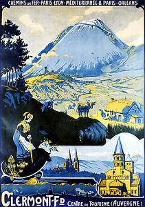 Affiche chemin de fer PLM et PO - Clermont-Ferrand