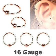 2PC 16G ROSE GOLD IP Titanium Captive Bead Ring Earring Labret Tragus Nose Hoops