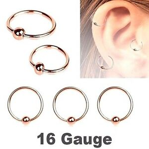 "PAIR 16G 5/16"" Rose Gold Steel Captive Bead Rings Earring Ear Tragus Nose Hoops"