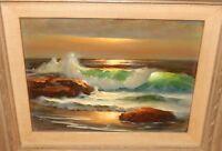 WILLIAM DESHAZO ORIGINAL OIL ON BOARD SEASCAPE PAINTING LISTED ARTIST