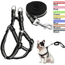 Reflective Nylon Dog Harness and Leash Set Small Medium Dog No Pull Walking Vest