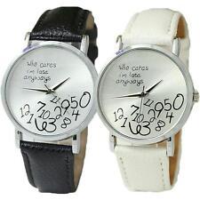 "Women Men ""Who cares I'm late anyway"" Wristwatch Fashion Leather Quartz Watch~US"