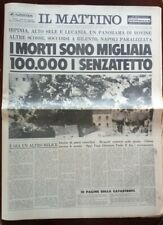 IL MATTINO 25 NOVEMBRE 1980 TERREMOTO IRPINIA SELE CAMPANIA NAPOLI BASILICATA