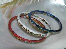 Estate Lot of 3 Red White & Blue Enamel Asian Cloisonne Floral Bangle Bracelet –