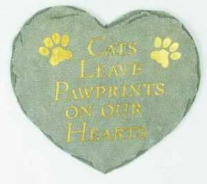 """CATS LEAVE PAWPRINTS ON YOUR HEART Memorial Garden Stepping Stone 9.5""""  by Spoon"""