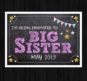 Personalised PREGNANCY ANNOUNCEMENT PRINT New Baby BIG SISTER A4 Photo Prop