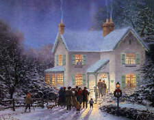 Winter Snowy Christmas Night Gathering  Country House
