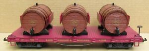 LGB 41693 Lake George & Boulder Flat Car w/Wine Barrels G-Gauge *RARE*
