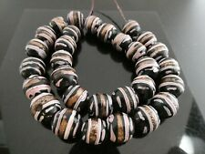 Antique Venetian Fancy Black Pink Gold Italian Glass Vintage 30 Trade Beads