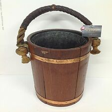 Edwardian Solid Oak Coal or Log Pail /Box with leather bound rope handle & liner