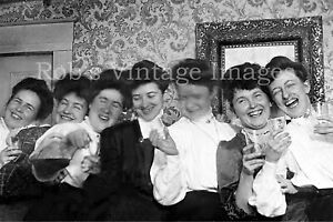 Klondike Old West Brothel Girls Soiled Doves partying drinking wine 1890s photo