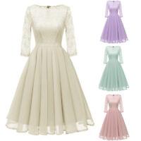 Women Vintage Princess Floral Lace Cocktail Evening Party Aline Maxi Swing Dress