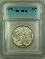 1945 Silver Walking Liberty Half Dollar 50c ICG MS-63