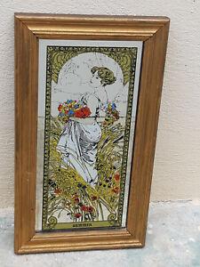 """Miroir Publicitaire décor Sérigraphié Alphonse MUCHA """"Summer"""" - 35x20cm"""