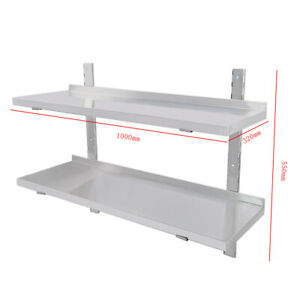 Stainless Steel Wall Shelf 2x Commercial  Kitchen Shelves 100/120cm Wall Mount