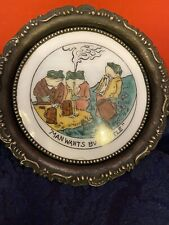 """Antique """"Ohara Dial Co."""" Waltham,Mass. Small Enamel TipTray/coaster, Party Frogs"""