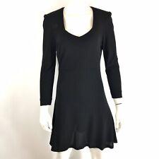 Vintage 90s Sonia Rykiel Skater Dress Button Back Long Sleeve Black size 36 US 4