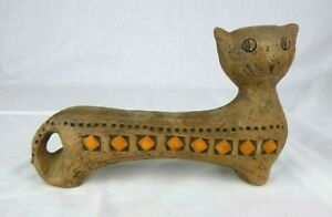 Vtg Mid Century Modern Bitossi Italian Pottery 2 Faced Cat Brown Orange Londi