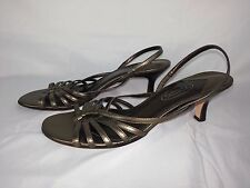 TALBOTS Women's Pewter Leather High Heeled Open Toe Sandals Shoes Sz 7.5 B