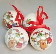 "Snowman Igloo Ball Ornament Set 4 Christmas 3"" Decor Decoupage Kurt Adler"