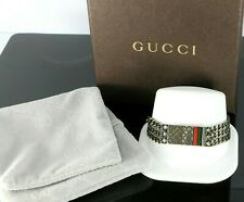Gucci Italy Sterling Silver Diamantissima Gourmette Enamel 3 Chain Bracelet 7.5""