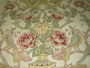 6 1/8 YDS TRAVERS SOMERTON BIRDS FLORAL LINEN DRAPERY UPHOLSTERY FABRIC FOR LESS