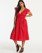 Neon Rose Textured Cotton V Neck Dress Burnt Coral UK Size 18 VR241 013