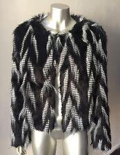 NWOT Faux Vegan Fur Bomber Shaggy Long Hair Black WHite Jacket Coat Size S