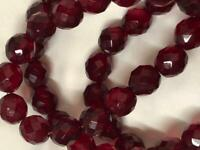 """Stunning vintage ruby red 9mm glass bead 26"""" necklace, Gorgeous!!"""